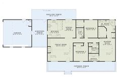 First Floor Plan of Country   Farmhouse  Southern   House Plan 61392