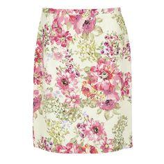 Large Floral Print Linen Pencil Skirt at Laura Ashley