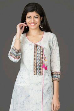 40 Amazing Kurti Neck Designs With Lace and borders Bling Sparkle Salwar Designs, Kurta Designs Women, Neckline Designs, Dress Neck Designs, Blouse Designs, Kurtha Designs, Chudidhar Neck Designs, Designer Salwar Kameez, Designer Kurtis