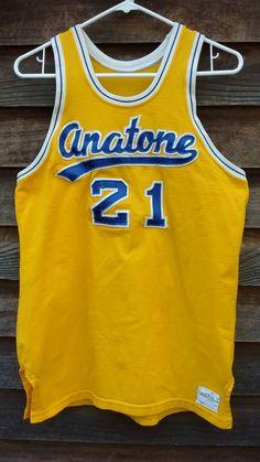 vintage Sand Knit basketball Jersey 60s size 40 Anatone Asotin High School  sewn nylon tank top yello 19d3b09ea