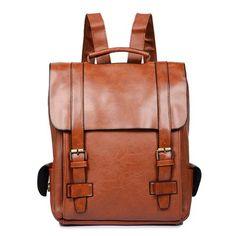 Vintage backpack pu leather men bag waterproof school bags solid Retro male  back pack teens Casual bagpack Mochila black brown a0c12b9be0527