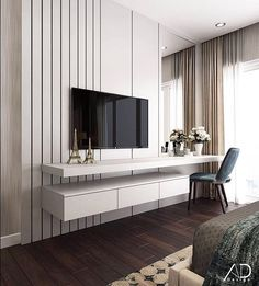 48 Cool Bedroom Tv Wall Design Ideas - Because the average person sleeps around hours each day, we have to pay attention to bedroom decoration. It has been said and proven that you can . Bedroom Tv Unit Design, Tv Unit Bedroom, Bedroom Tv Wall, Living Room Tv Unit, Luxury Bedroom Design, Tv Wall Design, Bedroom Decor, Interior Design, Master Bedroom