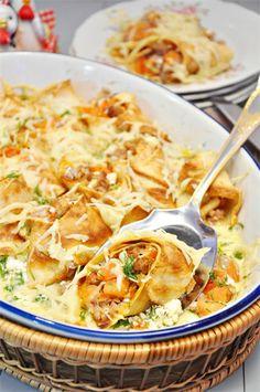 Блинная запеканка с мясным фаршем и творогом.. Рецепт c фото, мы подскажем, как приготовить!Pancake casserole with minced meat and cheese. - Recipe.