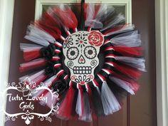 Halloween Wreath Skull Wreath Day of The Dead by 2tuLovelyGirls, $40.00