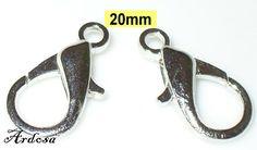 2 Karabinerverschlüsse silber 20x10mm  110.5 von Schmuckmaterial