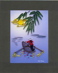Tranh giấy xoắn kích thước 20cm x 25cm (Code: A02). Quilling painting dimension 20cm x 25cm (Code: A02). http://shopmynghe.com/detail2.php?id=2815