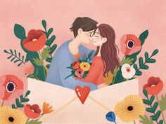 So in love - Valentines Day Art And Illustration, Valentines Illustration, Wedding Illustration, Illustrations And Posters, Character Illustration, Love Images, Love Design, Cute Art, Art Drawings