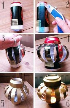 Reused beer Can Lanterns by Bohemian Summer. Doesn't have to be beer, can be anything tall I suppose :) Fun Crafts, Diy And Crafts, Arts And Crafts, Soda Can Crafts, Creative Crafts, Do It Yourself Wedding, Do It Yourself Ideas, Pop Cans, Diy Weihnachten