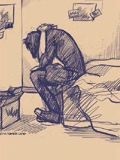 Se encontraba sentado en el borde de su cama, con la cabeza entre sus brazos