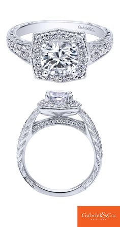 Tell the one you love that you're ready for a lifetime of happiness with this gorgeous 14k White Gold Diamond Halo Engagement Ring. Discover your perfect engagement ring at Gabriel & Co.