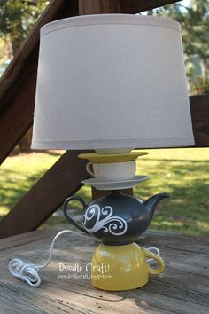 DIY tea cup and tea pot lamp with good steps and instructions