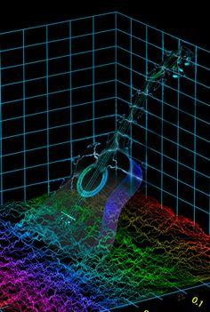 Esta imagen tiene el formato de un espectrograma, se uso el archivo Guitar.jpg para crear la composición y las líneas deformadas representan vibraciones que emite el sonido de este instrumento.
