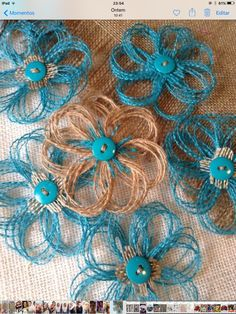 Items similar to FIFTY - Turquoise and Natural Burlap Party Decorations - rustic Wedding Decorations - Aqua - Teal on Etsy : FIFTY Turquoise and Natural Burlap Party Decorations by resadavid Loom Flowers, Twine Flowers, Felt Flowers, Diy Flowers, Paper Flowers, Easy Fabric Flowers, Wedding Flowers, Twine Crafts, Easy Diy Crafts