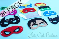 felt superhero masks  Other templates:  http://cutesycrafts.blogspot.com/2012/07/superhero-party-masks.html  https://docs.google.com/folder/d/0B8w-5XfHwA3tR0JYRXRXNm5ZMUU/edit