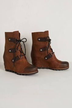 Brown Leather Wedges #Boots