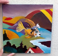 NFAC Original Oil Painting Cat Flying Fish Goldfish Surrealism by Bobby G  #Expressionism