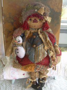 "Primitive Prim Folk Art Raggedy Ann Doll w/ Snowman 27"" ""Olde Annie"" Must See!!!"