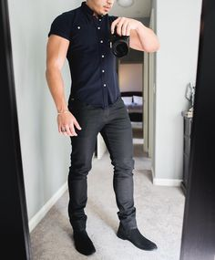 The #mirrorselfie is getting out of hand  navy Piqué shirt  black jeans and black #chelseaboot  [ http://ift.tt/1f8LY65 ] #royalfashionist #menwithstreetstyle