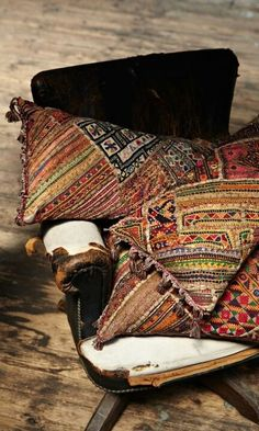⋴⍕ Boho Decor Bliss ⍕⋼ bright gypsy color & hippie bohemian mixed pattern home decorating ideas - Cushions