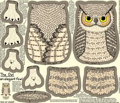 The Owl, an Elegant Fowl fabric by victorialasher for sale on Spoonflower - custom fabric, wallpaper and wall decals Owl Crafts, Paper Crafts, Origami, Sewing Projects, Craft Projects, Owl Patterns, Plushie Patterns, Fabric Patterns, Paper Animals