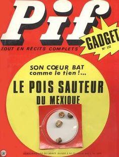 Pif Gadget 1970 avec les mythiques pois sauteyrs du Mexique. Je les avais placés sur le radiateur de la salle de bain mais quelques heures plus tard, ils avaient pris la poudre d'escampette.Je ne les ai jamais retrouvés!