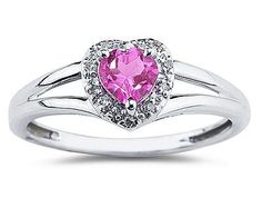 Heart Shaped Pink Topaz And Diamond Ring, 10K  White Gold - Click for More...