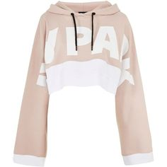 Kimono Sleeve Hoodie by Ivy Park (€43) ❤ liked on Polyvore featuring tops, hoodies, jackets, sweaters, light pink, cotton hooded sweatshirt, hoodie top, light pink hoodie, cotton hoodie and white top