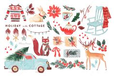 Watercolor Holiday Clip Art Set by RhianAwni on Creative Market
