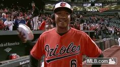 Jonathan Schoop hits the first grand slam of his career and is justly rewarded with pie