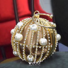 Amazing / Unique Gold Silk Round Clutch Bags 2020 Metal Pearl Rhinestone Gold Silk, Gull, Pearl Earrings, Classy, Unique, Amazing, Clutch Bags, Jewelry, October