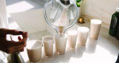 almond milk with Shilajit resin, pearl powder, reishi, cordyceps, tocotrienols, maca, and ho shou wu