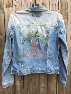 Hand embroidered tree of life denim jacket large  70's style hippien jean jacket