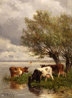 Willem ROELOFS (Nederlands kunstenaar, 1822-1897): Koeien aan de waterkant