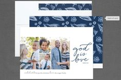 God is Love multi-photo Christmas card by Carol Fazio for minted.com. Religious holiday card. Hand-drawn backer. In 6 color ways. With matching postage stamp. With alternate greetings for New Year, Christmas and Holiday.