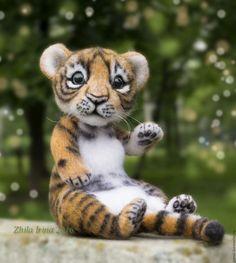 Tiger cub By Zhila Irina - Bear Pile Expensive Gifts, Sitting Positions, Handmade Toys, Pet Toys, Wool Felt, Kittens, Adoption, Teddy Bear, Artist