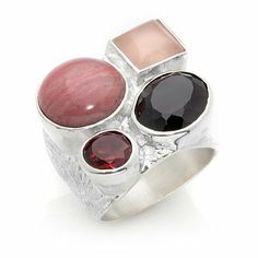 "Jay King ""Mesa Rose"" Multigemstone Sterling Silver Ring"