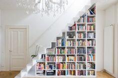 bookshelf staircase makes PERFECT sense!