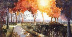 Feels like autumn already! Autumn Lane, original watercolour painting by Eleanor Mann