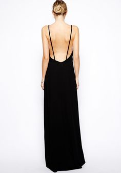 So Pretty! Classic and Elegant! Black Plain Condole Belt V-neck Polyester Maxi Dress