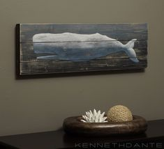 Wood Whale Art Nautical Rustic by KennethDante.com