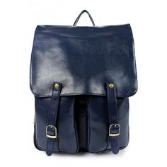 Vintage Fashion Solid PU Backpack OASAP.COM ($24) ❤ liked on Polyvore featuring bags, backpacks, backpack, oasap, backpack bags, zipper bag, knapsack bag, vintage rucksack and blue backpack