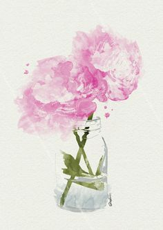 pink peonies in vase watercolour by sara woodrow