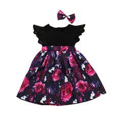 c0eca4bd3c12 Lace Sleeved Flower Dress   Bow Kids Summer Dresses