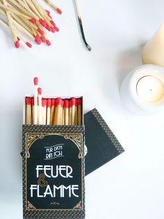 """Valentinstagsgeschenke: Kaminhölzer """"Feuer & Flamme"""" / romantic matches by JuliaTongTong via DaWanda.com"""