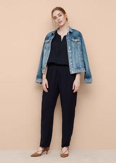 Long chest-pocket jumpsuit - Plus sizes Violeta By Mango, Modest Fashion, Jeans, Best Sellers, Elastic Waist, Harem Pants, Party Dress, Jumpsuit, Normcore