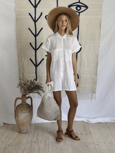 LAURENT ROMPER | WHITE Linen romper Available in white colour way Please note: this fabric is slightly see-through Cool machine wash. line dry. cool iron. do not bleach. please use environmentally friendly detergents   Measurements for reference - M/L: Bust- 57 cm Hips- 58 cm Waist- 55 cm  S/M:  Bust- 53 cm Hips- 54 cm Waist- 52 cm
