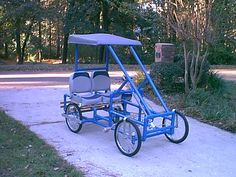 Build your own four wheel bike or pedal car. Plans and kits.