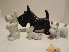 4 Vintage Scottish Scottie Terrier Dogs Figurines Home Decor
