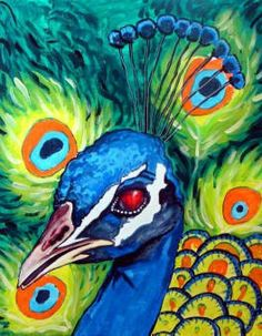 Peacock Art Modern Abstract Print Poster of by HeatherGallerArt, $24.00