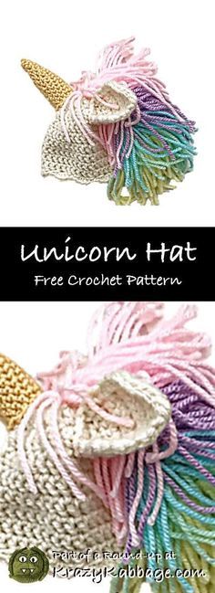 Unicorn Free Crochet Patterns – Krazykabbage #crochet #freecrochetpattern #unicorn #girl #gift #craft #hat